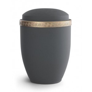 Steel Urn (Grecian Athena Edition - Graphite with Gold Block Spiral Border)
