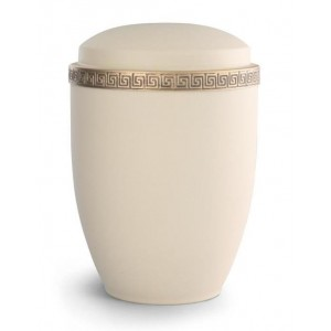 Steel Urn (Grecian Athena Edition - Cream with Gold Block Spiral Border)