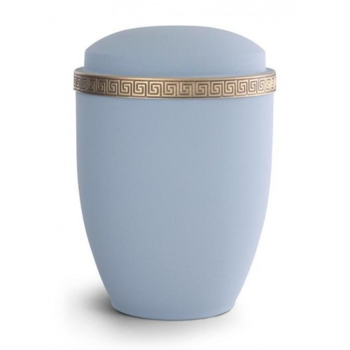 Steel Urn (Grecian Athena Edition - Azure with Gold Block Spiral Border)