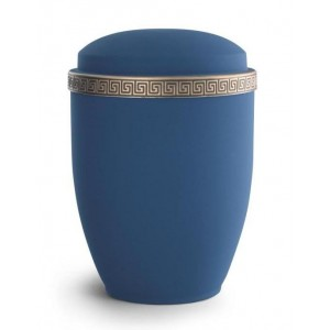Steel Urn (Grecian Athena Edition - Marine Blue with Gold Block Spiral Border)