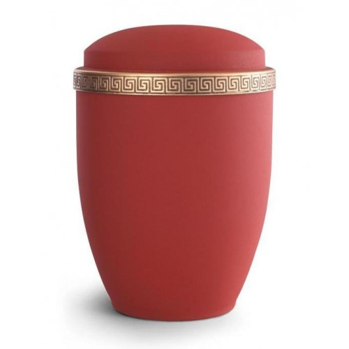 Steel Urn (Grecian Athena Edition - Ruby with Gold Block Spiral Border)