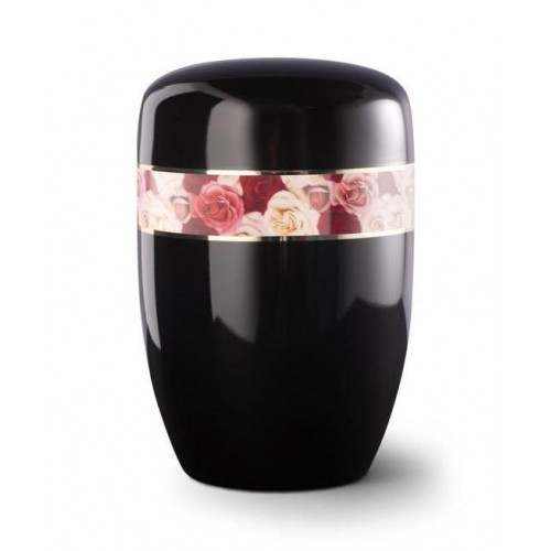 Steel Urn (Black with Coloured Roses Border)