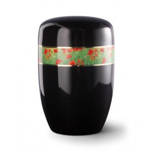Steel Urn (Black with Poppies Border)