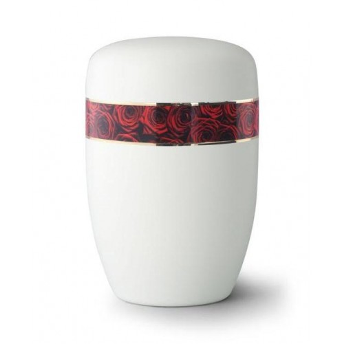 Steel Urn (White with Red Rose Border)