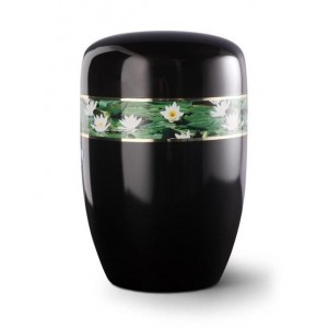 Steel Urn (Black with Water Lily Border)