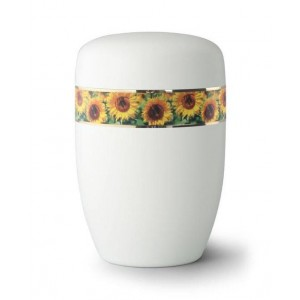 Steel Urn (White with Sunflower Border)
