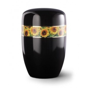 Steel Urn (Black with Sunflower Border)
