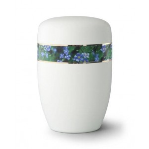 Steel Urn (White with Forget Me Not Border)