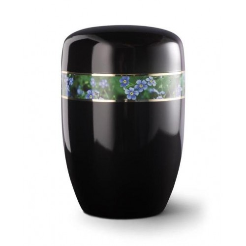 Steel Urn (Black with Forget Me Not Border)