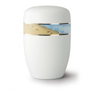 Steel Urn (White with Footprints in the Sand Design)