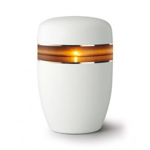 Steel Urn (White with Ocean Sunset Border)
