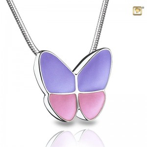 Sterling Silver Butterfly Pendant - Pink Wings