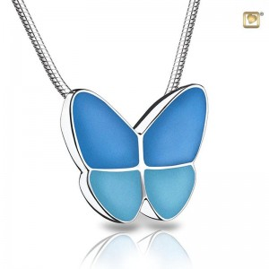 Sterling Silver Butterfly Pendant - Blue Wings