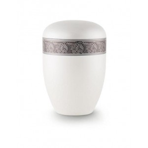 Biodegradable Urn (White with Silver Fan Border)
