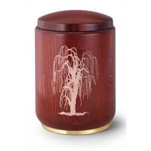 Wooden Urn (Stained Mahogany with Weeping Willow Engraving)