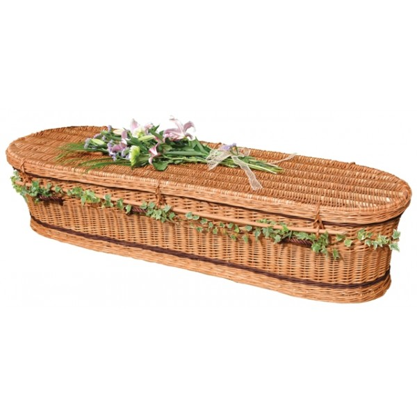 Woven Basket Casket : Autumn gold wicker willow brown oval style coffin