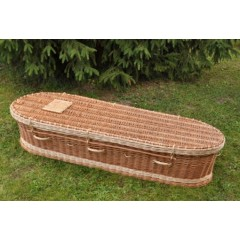 Autumn Gold Premium Wicker / Willow 'Brown & Cream' (Oval) Coffin - *MASSIVE SAVINGS*