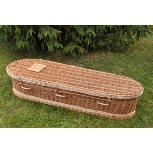 Autumn Gold Premium Wicker / Willow 'Brown & Cream' (Oval) Coffin - HAND-CRAFTED QUALITY