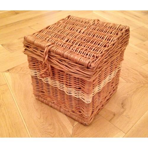 Woven Basket Casket : Autumn gold cream natural wicker willow cube shape