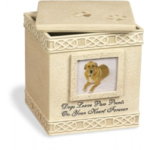 Weatherproof (Outdoor / Indoor Use) - Dog Paw Prints Keepsake Box with small photoframe