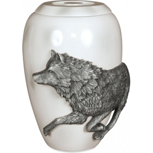 Pewter Cremation Ashes Funeral Urn - Free Spirit Marble Effect Finish - The Wolf (M)