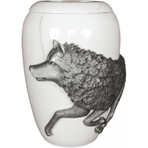 Pewter Cremation Ashes Funeral Urn - Free Spirit Marble Effect Finish - The Wolf (L)