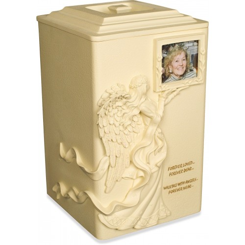 Angels Near Cremation Ashes Casket / Urn - Weatherproof (Outdoor / Indoor Use)