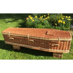 Autumn Gold Premium Wicker / Willow Brown & Cream (Traditional) Coffin *OUTSTANDING QUALITY**