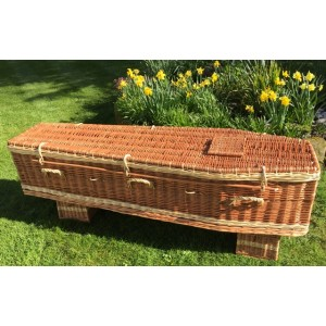 Autumn Gold Premium Wicker / Willow Brown & Cream (Traditional) Coffin **ECO FRIENDLY**