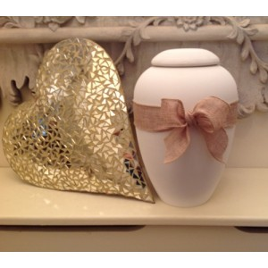 "Biodegradable Urn – ""ETERNAL BOW COLLECTION"" – CHAMPAGNE GOLD"