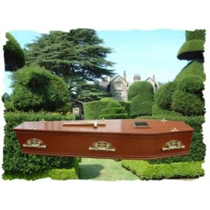 Mahogany Four Mould Coffin. Please call for best prices
