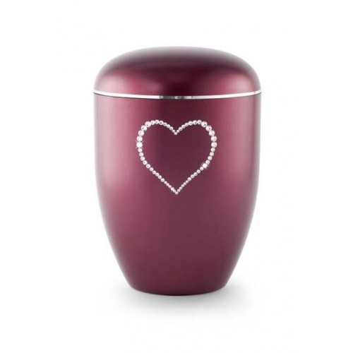 Biodegradable Swarovski Heart Urn (Burgundy)