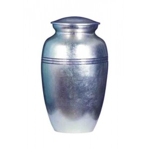 Premium Quality Hand Cast Aluminium Adult Cremation Ashes Urn - Silver