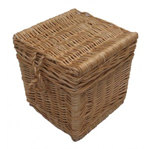 Autumn Gold Creamy White Wicker / Willow Cube Cremation Ashes Casket.