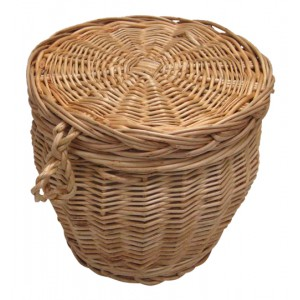 Autumn Gold Creamy White Wicker / Willow Cylinder Cremation Ashes Casket.