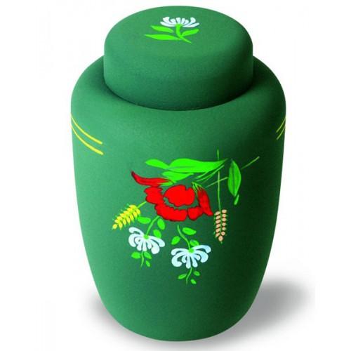 Cornstarch EcoUrn - Green Floral - Environmentally Friendly Funeral Urns