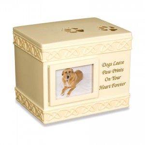 Weatherproof (Outdoor / Indoor Use) - Paw Prints (Box Design) Pet Cremation Ashes Urn