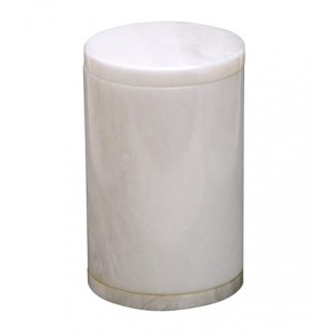 Saturina Large White Natural Alabaster Urn
