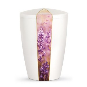 Floral Edition Biodegradable Cremation Ashes Funeral Urn – Lavender / Pearly Iridescent Surface