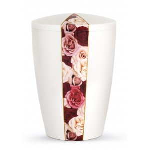 Floral Edition Biodegradable Cremation Ashes Funeral Urn – Roses / Pearly Iridescent Surface
