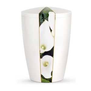 Floral Edition Biodegradable Cremation Ashes Funeral Urn – Calla Lily / Pearly Iridescent Surface