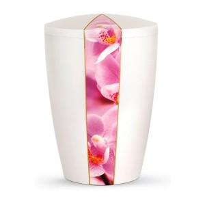Floral Edition Biodegradable Cremation Ashes Funeral Urn – Orchid / Pearly Iridescent Surface