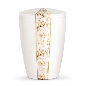 Floral Edition Biodegradable Cremation Ashes Funeral Urn – White Roses / Pearly Iridescent Surface