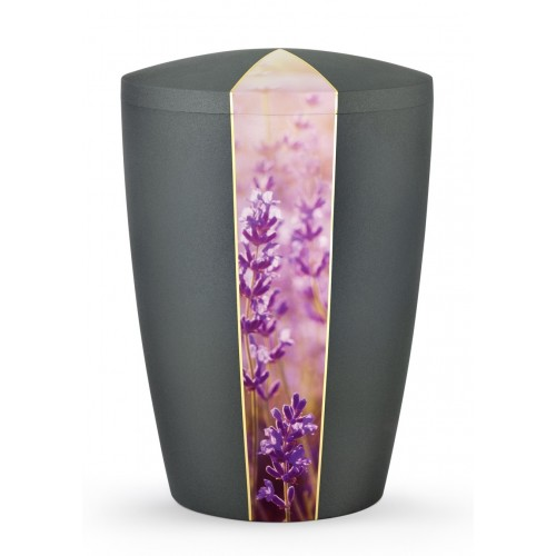Floral Edition Biodegradable Cremation Ashes Funeral Urn – Lavender / Anthracite Surface
