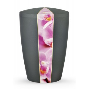 Floral Edition Biodegradable Cremation Ashes Funeral Urn – Orchid / Anthracite Surface