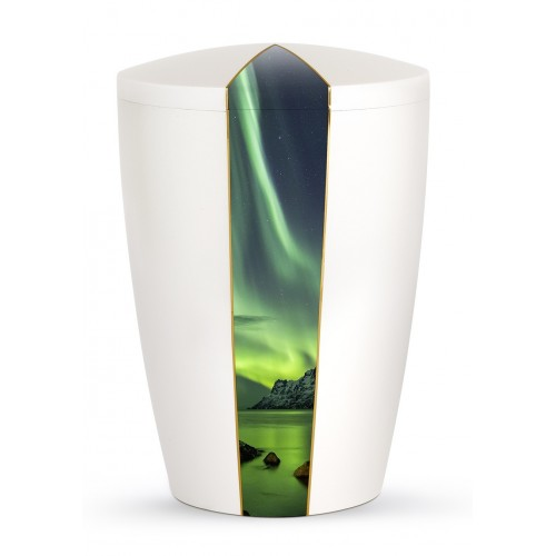 Heaven's Edition Biodegradable Cremation Ashes Funeral Urn – Northern Lights / Pearly Iridescent Surface