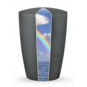 Heaven's Edition Biodegradable Cremation Ashes Funeral Urn – Rainbow / Anthracite Surface