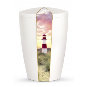 Nature Edition Biodegradable Cremation Ashes Funeral Urn – Mother of Pearl, Lighthouse Motif