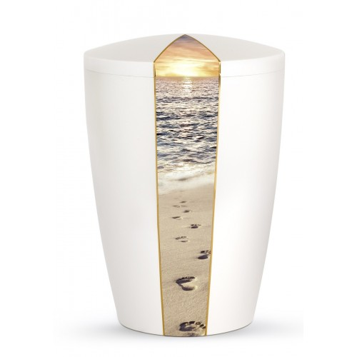 Nature Edition Biodegradable Cremation Ashes Funeral Urn – Mother of Pearl, Footprints Motif