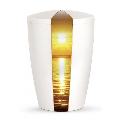 Nature Edition Biodegradable Cremation Ashes Funeral Urn – Mother of Pearl, Ocean Sunset Motif